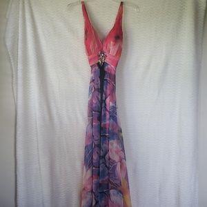 - Formal multi color dress by La Femme Paris